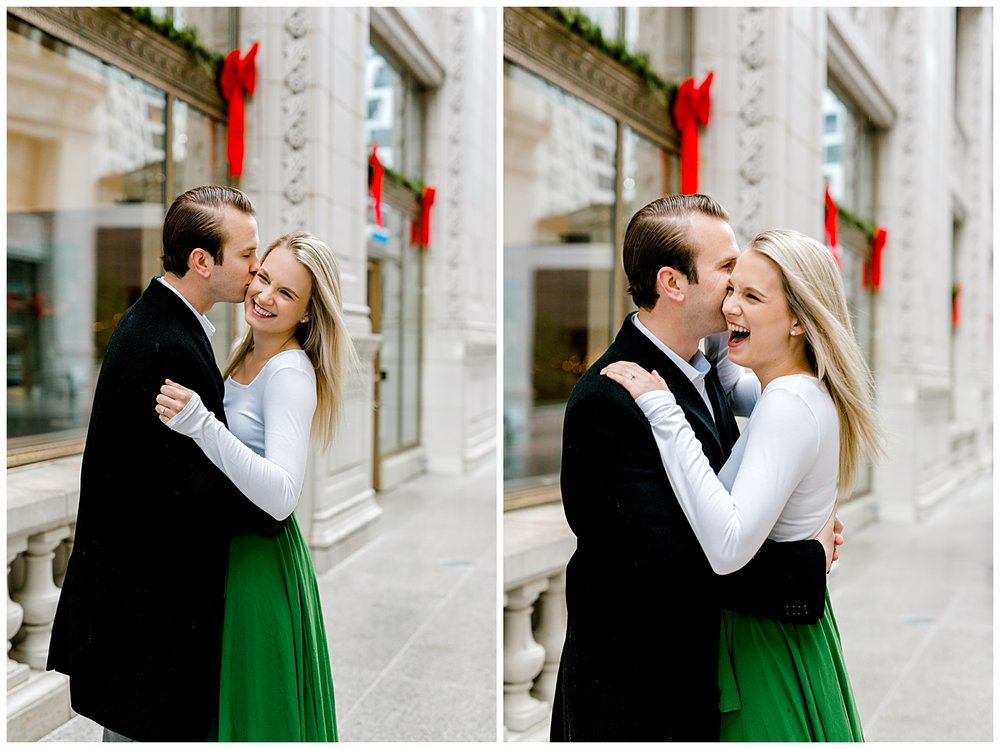 wrigley-building-chicago-illinois-downtown-engagement-session-wedding-photographer-green-dress-winter-holiday-christmas-3