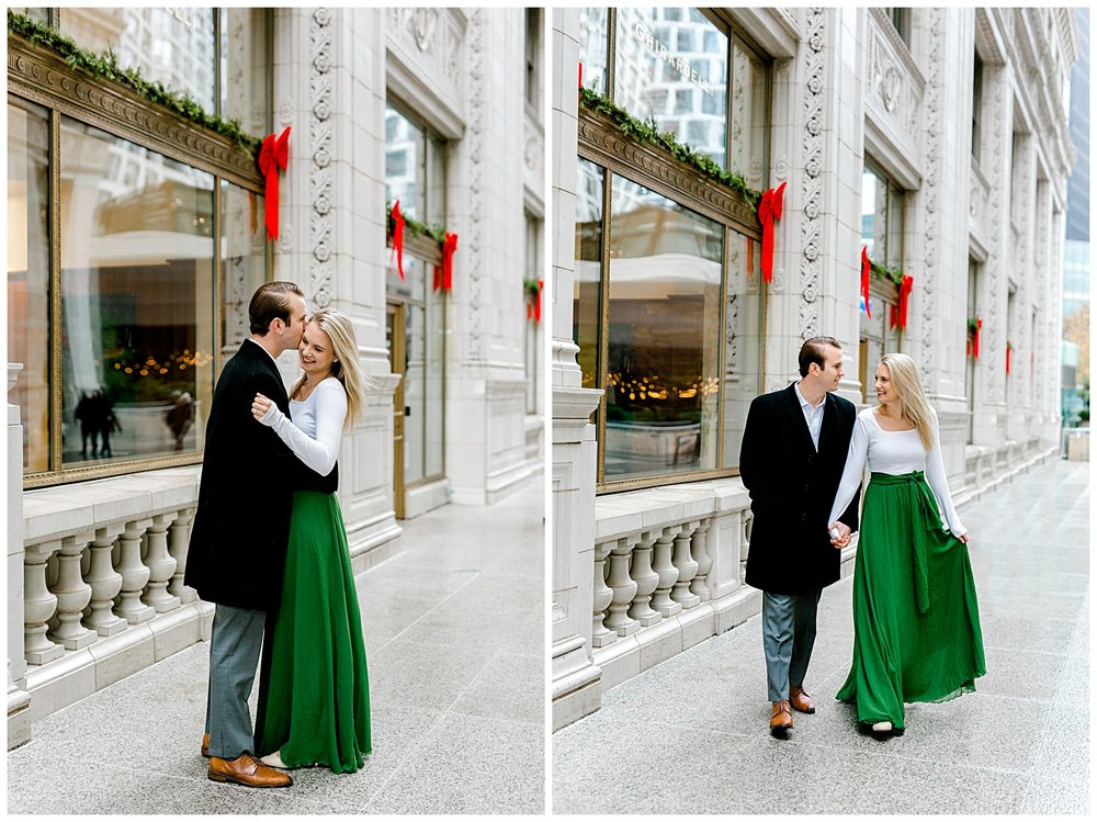 wrigley-building-chicago-illinois-downtown-engagement-session-wedding-photographer-green-dress-winter-holiday-christmas-5