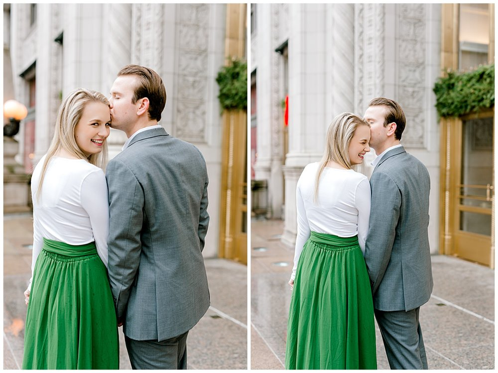 wrigley-building-chicago-illinois-downtown-engagement-session-wedding-photographer-green-dress-winter-holiday-christmas-6