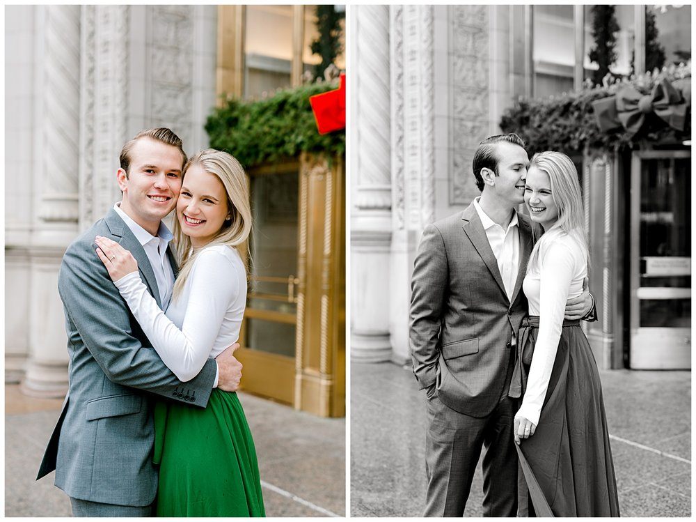 wrigley-building-chicago-illinois-downtown-engagement-session-wedding-photographer-green-dress-winter-holiday-christmas-7