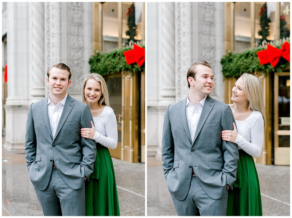 wrigley-building-chicago-illinois-downtown-engagement-session-wedding-photographer-green-dress-winter-holiday-christmas-9