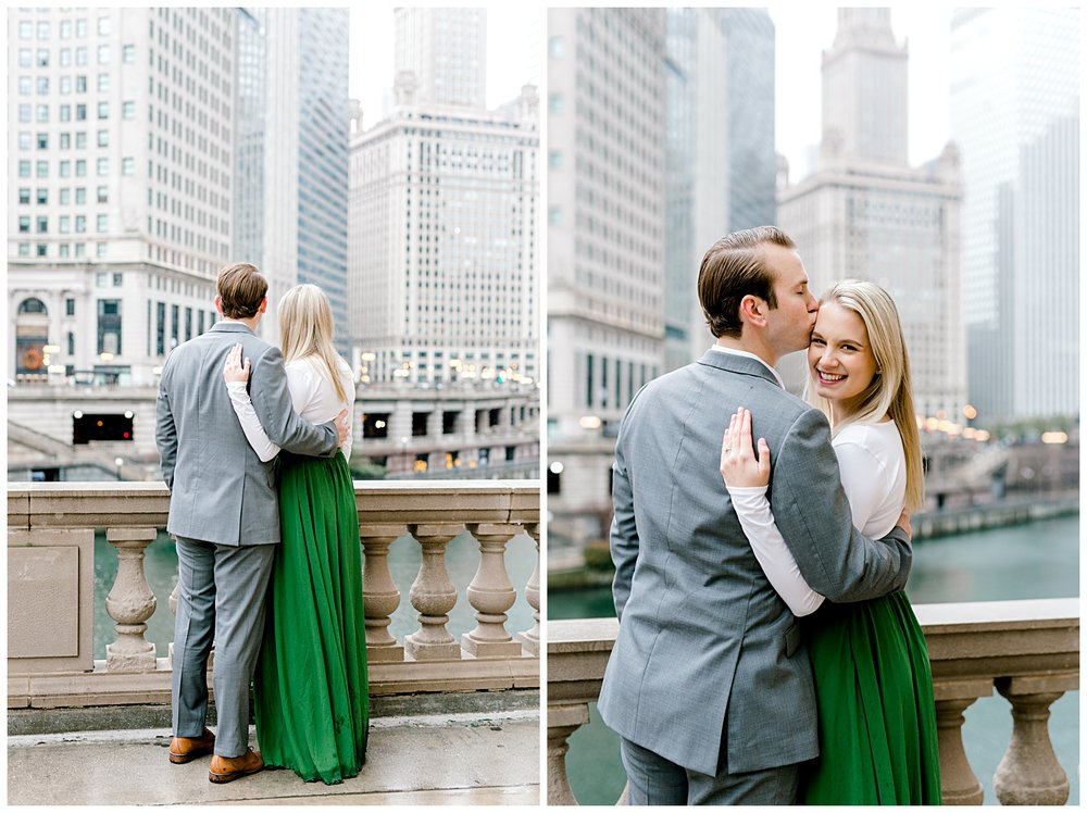 wrigley-building-chicago-illinois-downtown-engagement-session-wedding-photographer-green-dress-winter-holiday-christmas-10