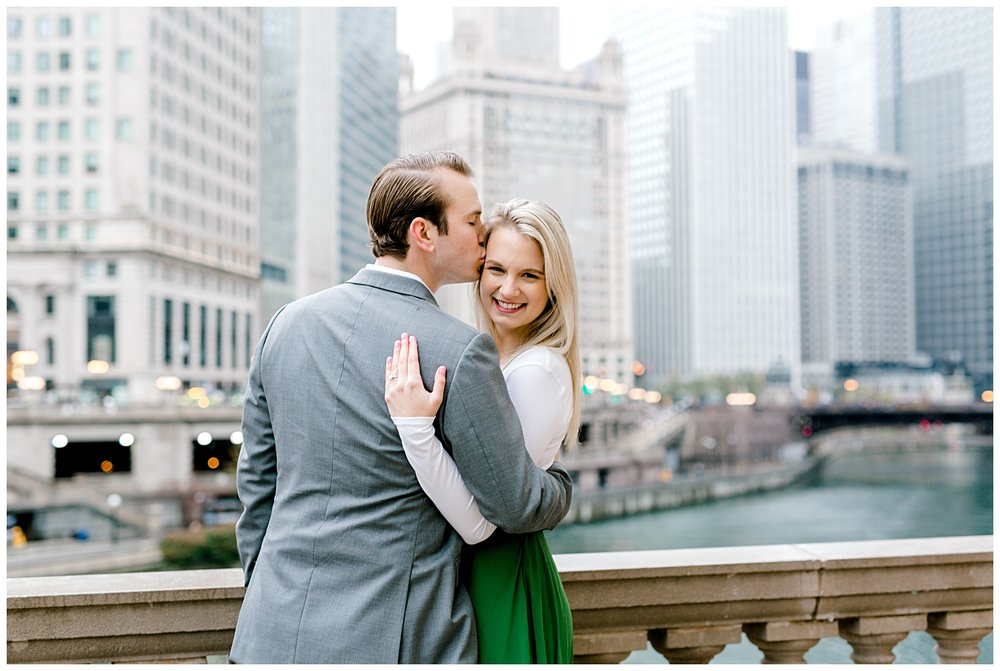 wrigley-building-chicago-illinois-downtown-engagement-session-wedding-photographer-green-dress-winter-holiday-christmas-11