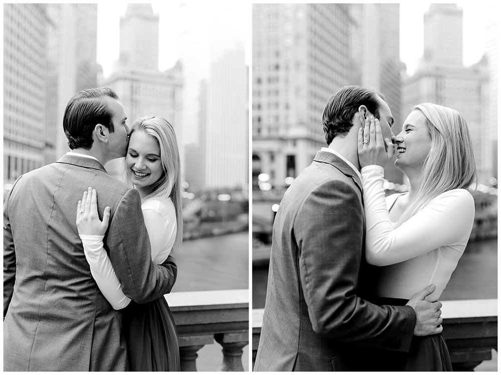 wrigley-building-chicago-illinois-downtown-engagement-session-wedding-photographer-green-dress-winter-holiday-christmas-12
