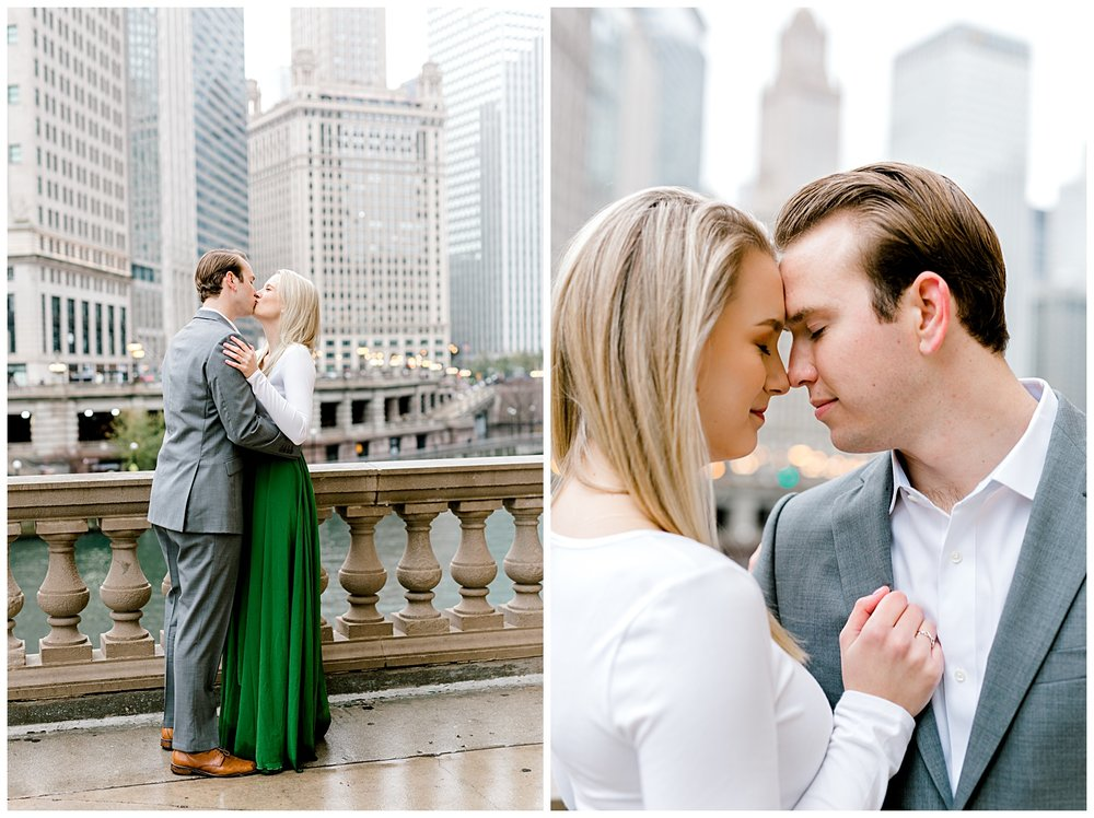 wrigley-building-chicago-illinois-downtown-engagement-session-wedding-photographer-green-dress-winter-holiday-christmas-13
