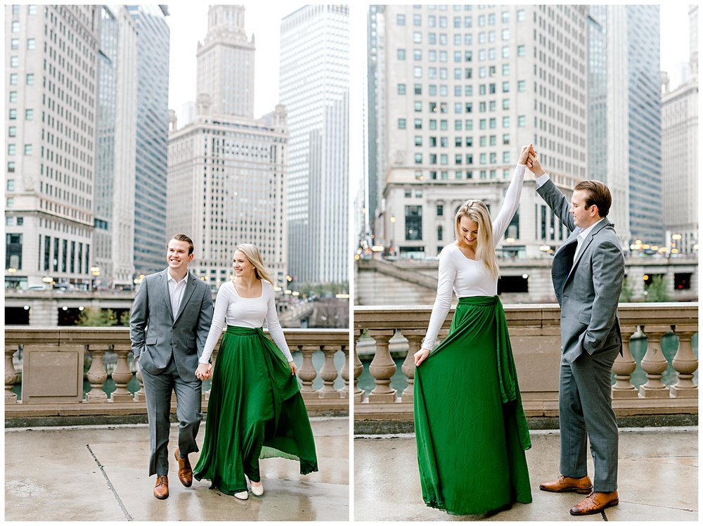 wrigley-building-chicago-illinois-downtown-engagement-session-wedding-photographer-green-dress-winter-holiday-christmas-14