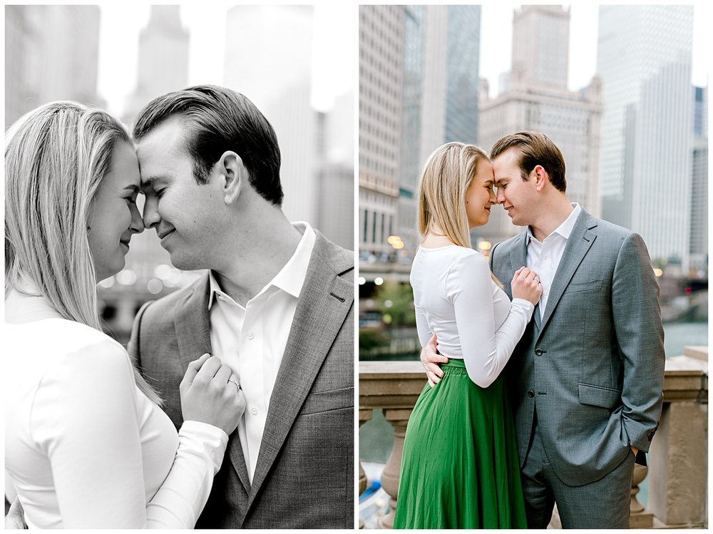wrigley-building-chicago-illinois-downtown-engagement-session-wedding-photographer-green-dress-winter-holiday-christmas-17