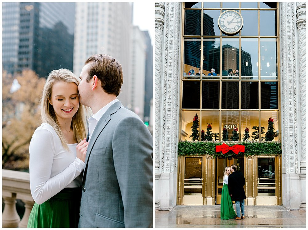 wrigley-building-chicago-illinois-downtown-engagement-session-wedding-photographer-green-dress-winter-holiday-christmas-18