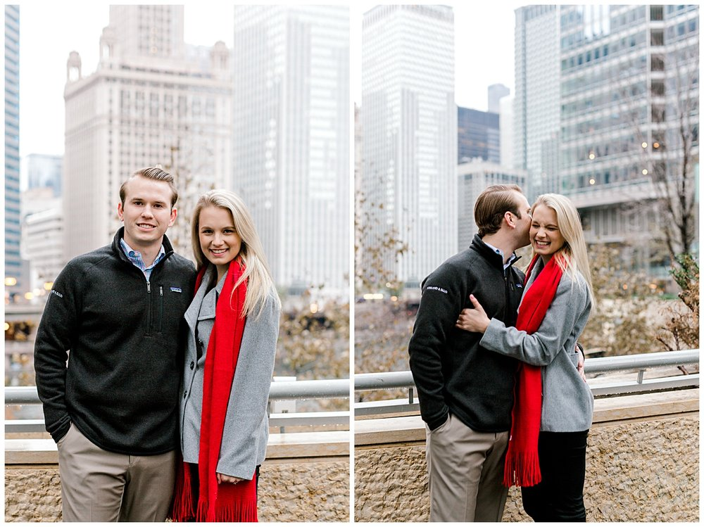 wrigley-building-chicago-illinois-downtown-engagement-session-wedding-photographer-green-dress-winter-holiday-christmas-19