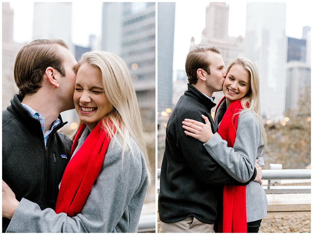 wrigley-building-chicago-illinois-downtown-engagement-session-wedding-photographer-green-dress-winter-holiday-christmas-20