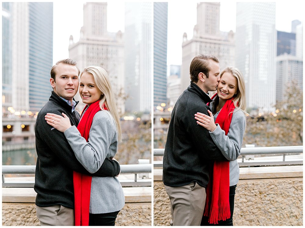 wrigley-building-chicago-illinois-downtown-engagement-session-wedding-photographer-green-dress-winter-holiday-christmas-21