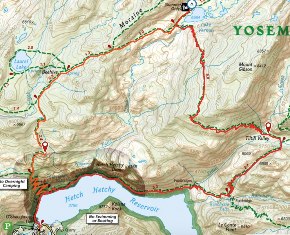 Highlighted route in red. Red waypoints = bear sightings.