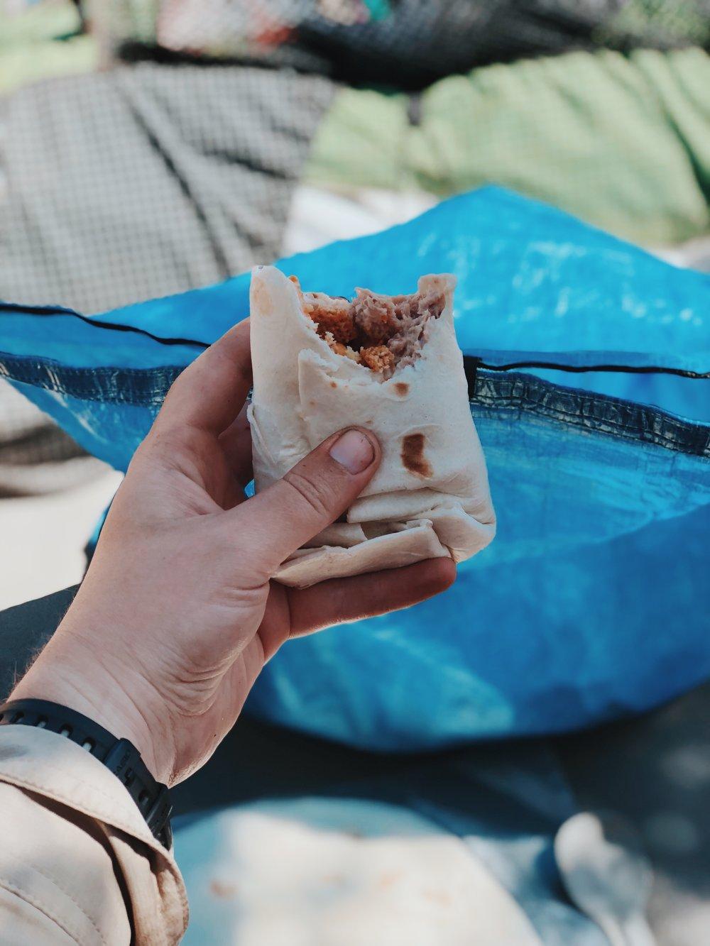 Hiker trash meal: tortilla + tuna packet + mayo + cheddar chex mix (x2)