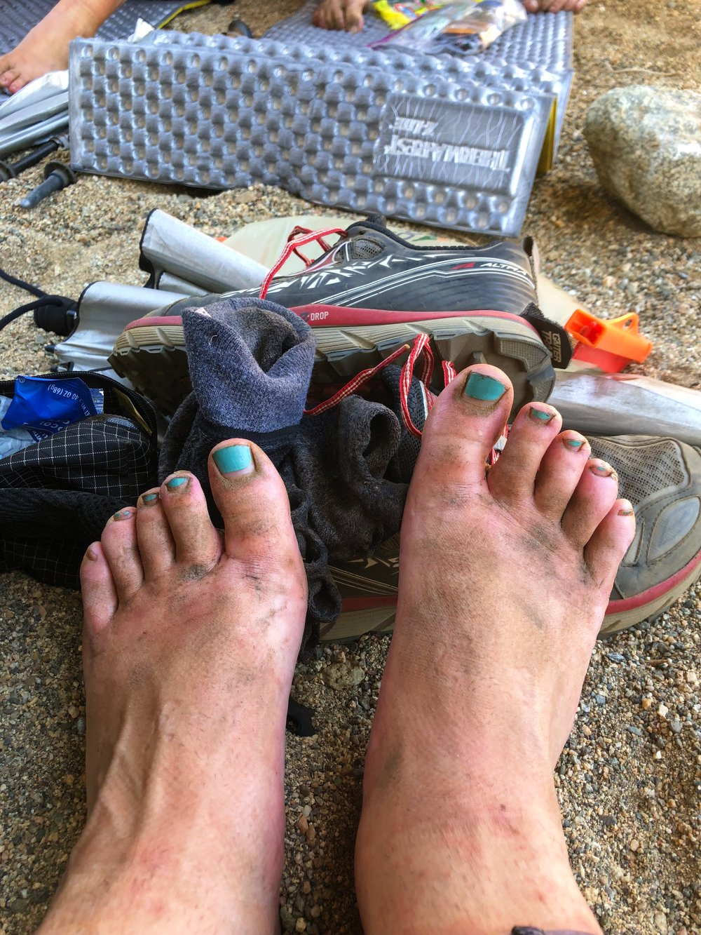 dirty feet even with thick socks & gaiters!