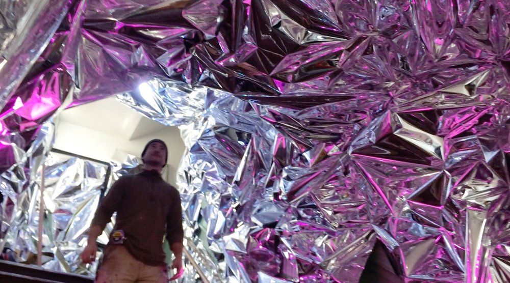 The Mylar Tunnel - was an immersive installation for guests to experience as they entered the second floor venue through a kaleidoscopic staircase tunnel of reflections.