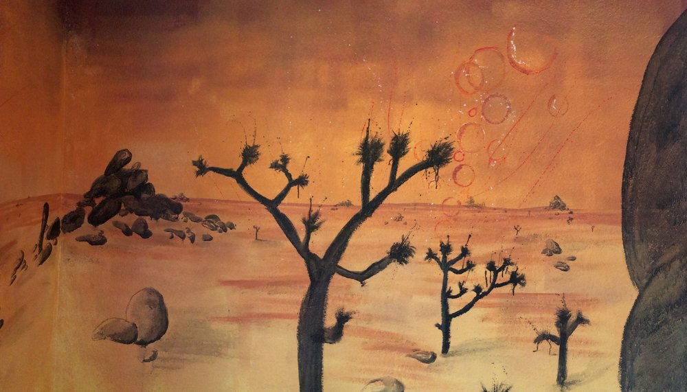 J-Tree Mural - When my dear friend Ready moved into the house, he asked me to paint a mural on his wall. I love the desert landscape of Joshua Tree and painted this martian mural for him.