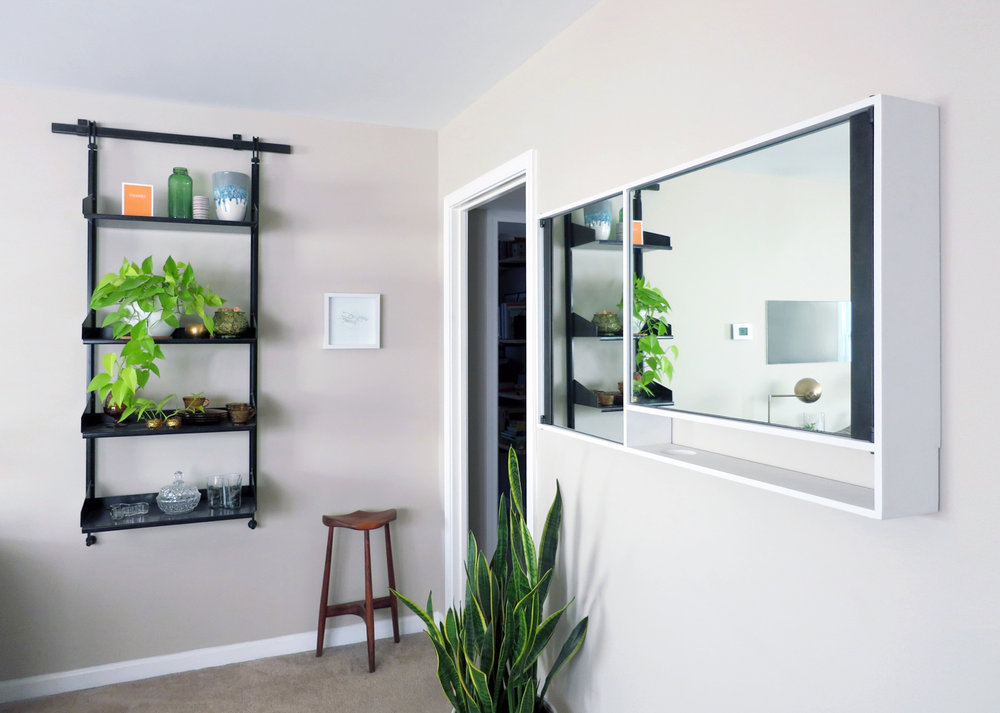 CURIO Shelving System & VANITY Mirrored Cabinet