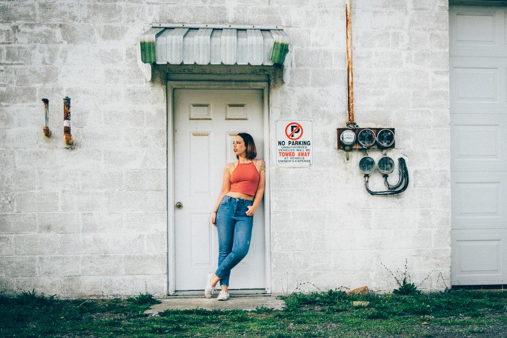 Senior photos in urban background