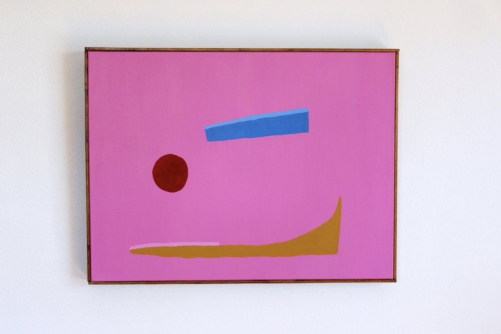 """""""Pink Yellow Blue Red"""" 18 x 24 inches, acrylic on canvas, framed, $550"""