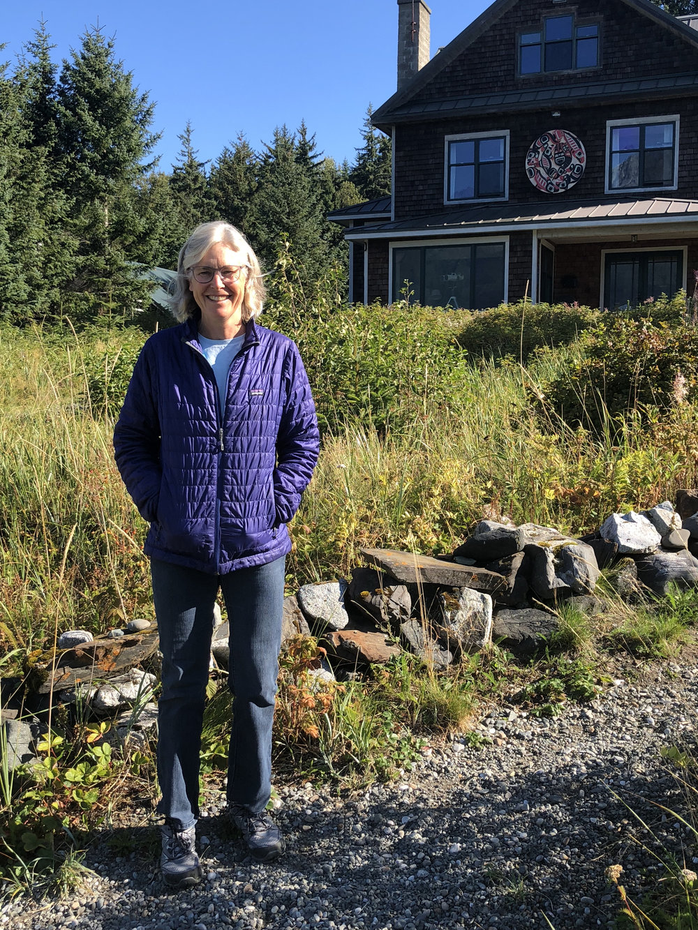 Heather Lende at her beachfront home in Haines, Alaska