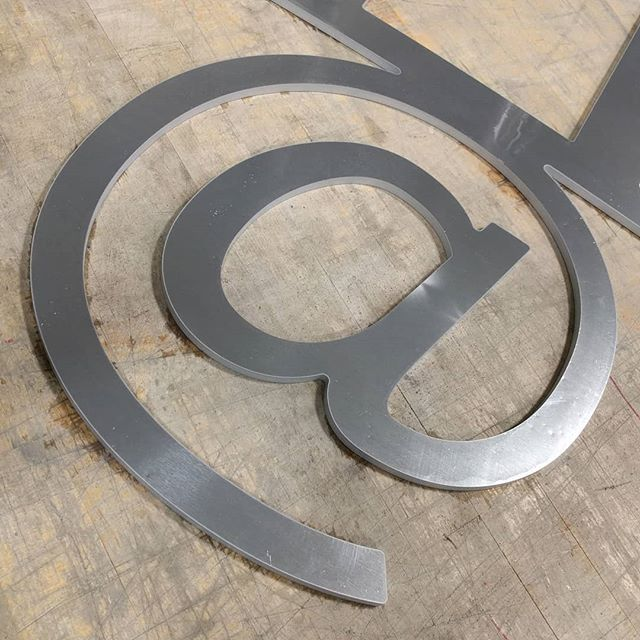 "0.25"" aluminum signage for a gate somewhere in NJ. Where you @? #waterjetnj #waterjetcut  #waterjet #aluminum #hazletnj #nj"
