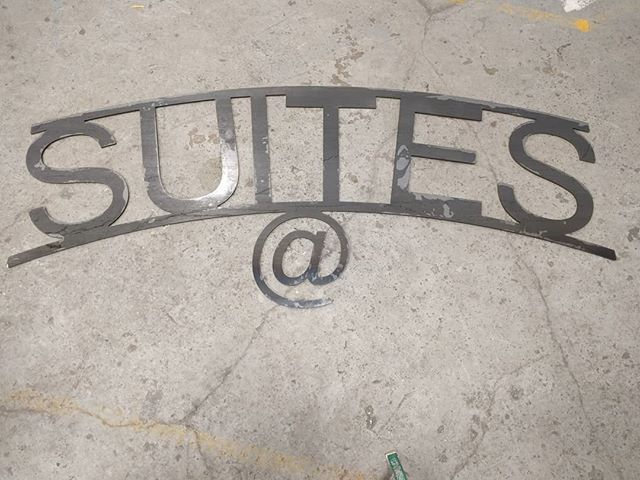 "0.25"" steel 80"" x 30"" sign for somewhere in #newjersey. #waterjet #waterjetnj #waterjetcut #hazletnj #nj #metalsign"