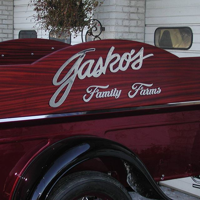 """Gasko's Family Farms"" sign cut from 0.25"" stainless steel for vintage truck. Polished and installed by Auto Body Contours. #waterjet #waterjetnj #waterjetcut #hazletnj #stainlesssteel #omax"