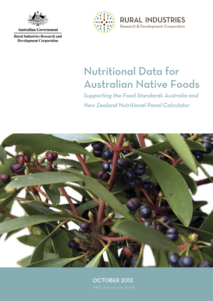 Nutritional Data for Australian Native Foods: Supporting the Food Standards Australia and New Zealand Nutritional Panel Calculator