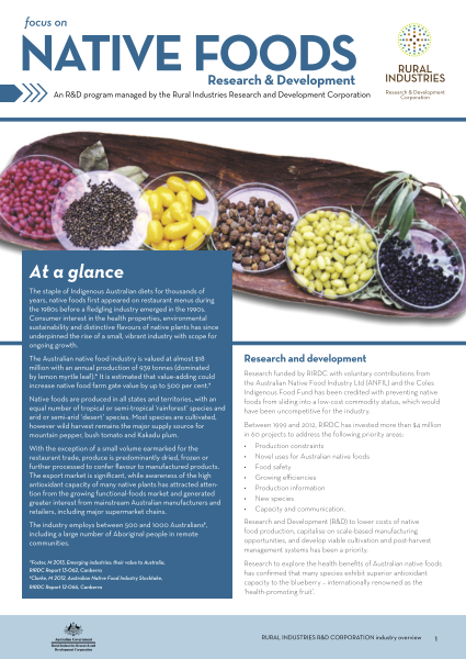 Focus on Native Foods Research and Development