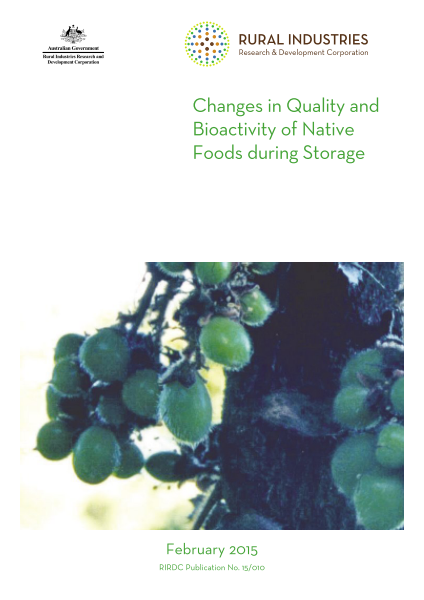 Changes in quality and bioactivity of native foods during storage