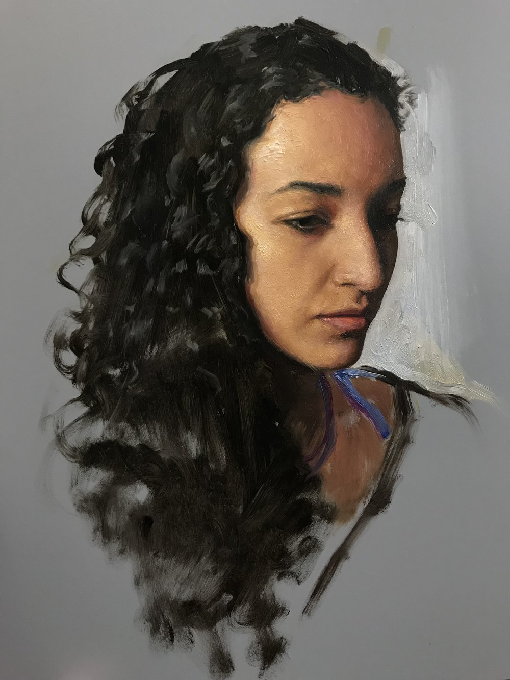 """ Vanessa"" ,  9""x12"" oil on board"