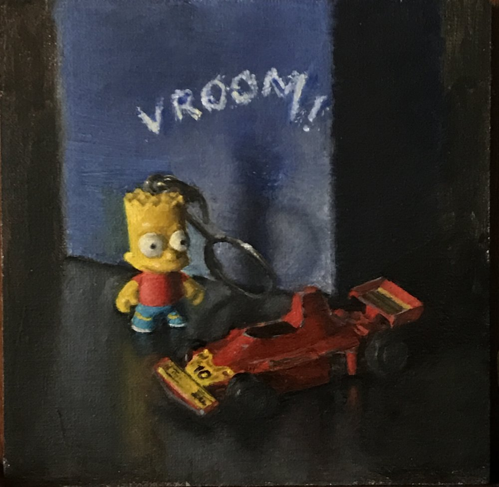 """Vroom"",  5""x5"" oil in linen adhered to      board"