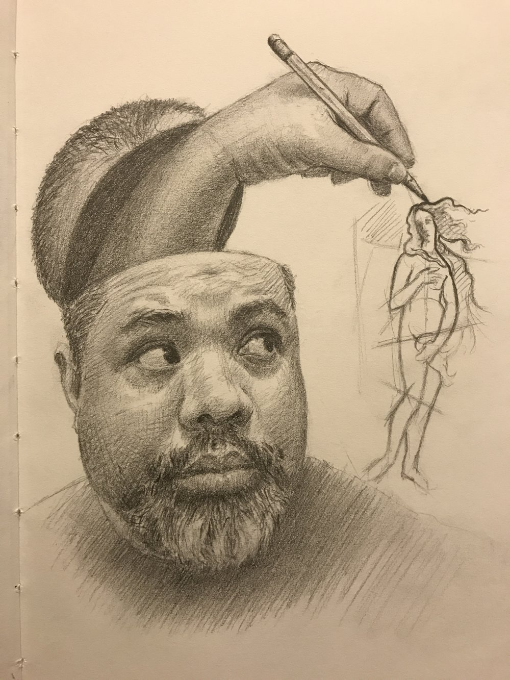 """ Drawing out of my head"", Self portrait, graphite"