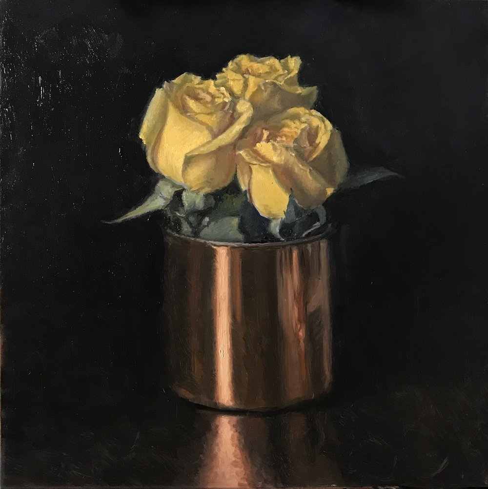 """Yellow Roses"" , oil on board 12""x12"""
