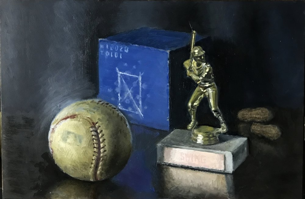 """Batter Up""! , oil on board 6""x9"""
