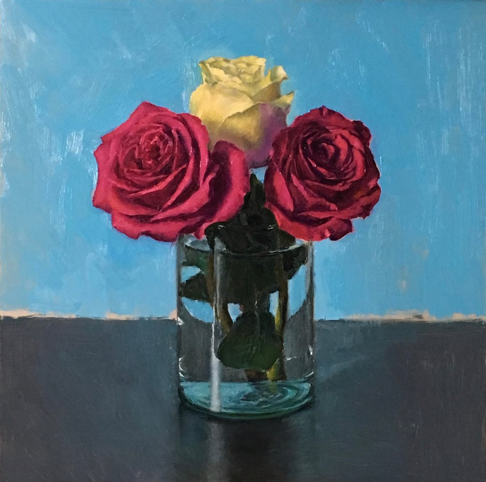 """3 roses"", oil on board 12""x12"""