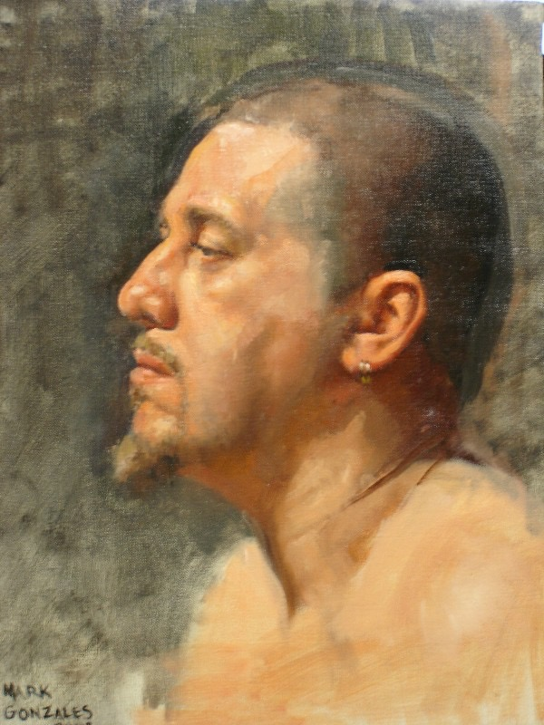 Head of a man, oil on linen