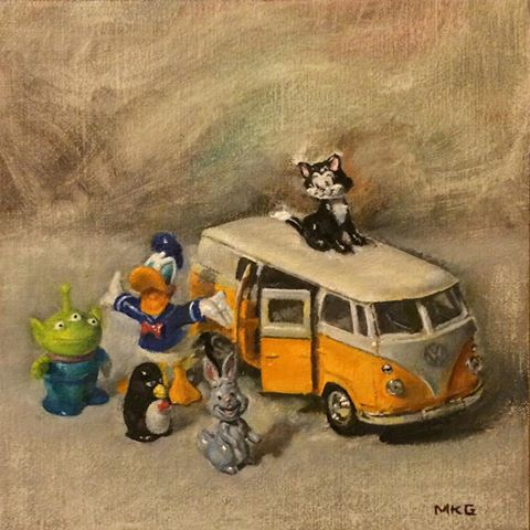 "All Aboard, 6""x6"" oil on linen"