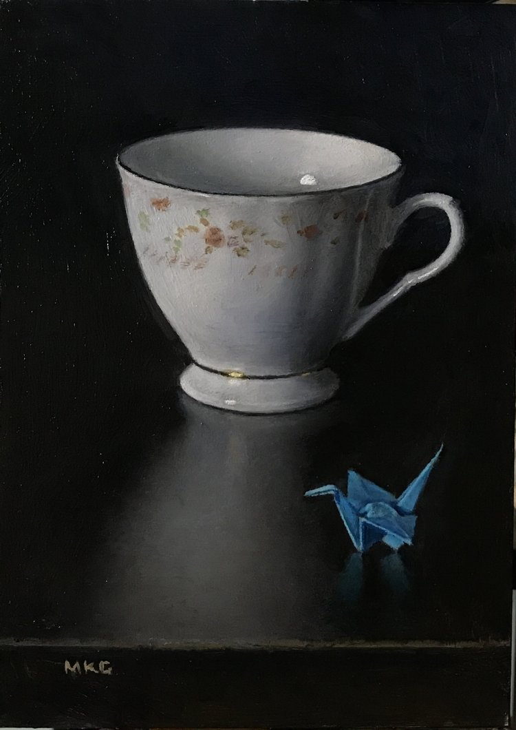 "Teacup and Crane, oil on panel 6""x9"""