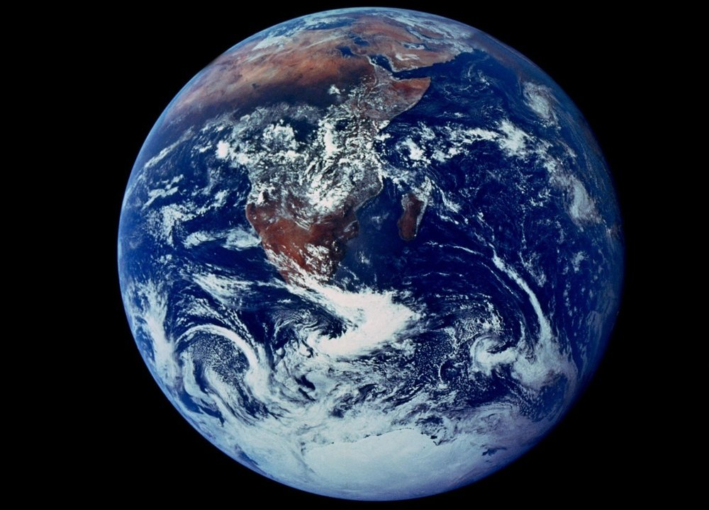 """Big Blue Marble,"" 1972, photograph from Apollo 17 moon mission"