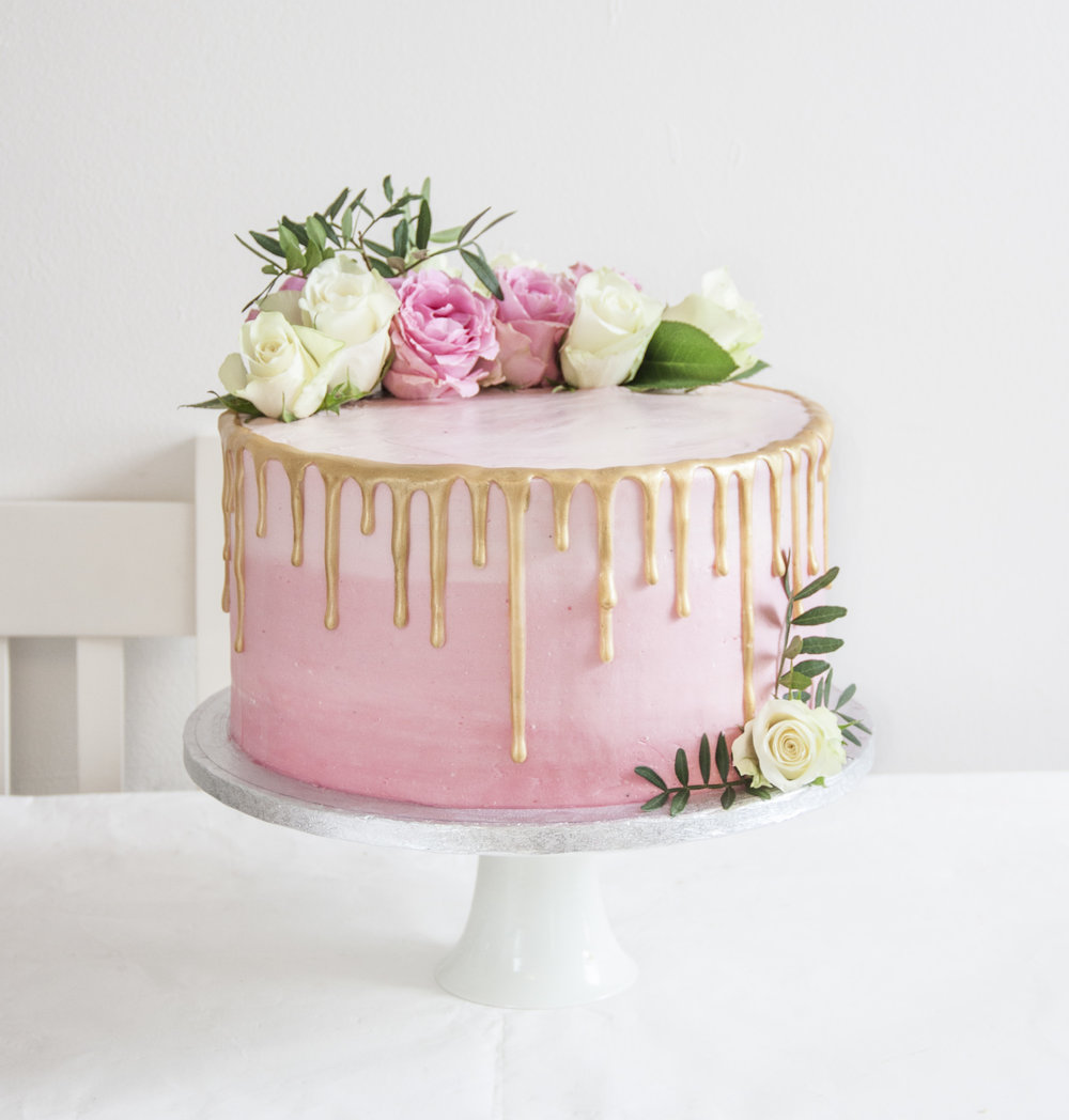 OMBRE CAKE WITH GOLD DRIP EFFECT