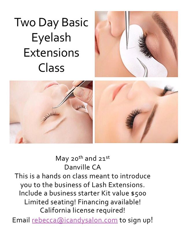 We have a few more seats left for our basic eyelash extensions course on May 20th and 21st at our Danville location and our five day advanced micoblading and ombré course on May 31st-june 4th at our concord location! Email rebecca@icandysalon.com to sign up today! Don't miss out on these great deals and education!! #icandyeyesalon #eyelashextensions #lashtraining #ombrebrows #microblading #microshading #browtattoo #lashextensions #lashes #microbladingtraining #ombrebrowtraining