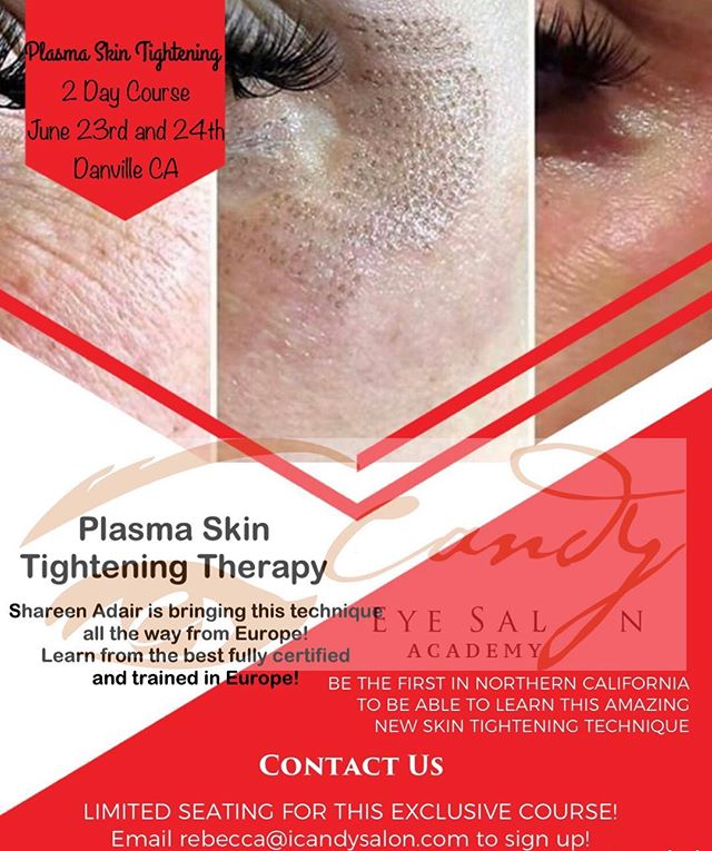 JOIN US FOR THE FIRST NORTHERN CALIFORNIA PLASMA SKIN TIGHTENING TWO DAY COURSE! BE THE FIRST TO LEARN HOW TO PERFORM THIS AMAZING TECHNIQUE DONE IN EUROPE! GIVE GREAT RESULTS TO YOUR CLIENTS WITH NO SURGERY OR INJECTIONS! AMAZING RESULTS INSTANTLY!  THIS IS A GREAT INVESTMENT IN YOUR CAREER! —————————————————— LIMITED SEATING! —————————————————— June 23rd and 24th DANVILLE CA —————————————————— Email rebecca@icandysalon.com to sign up!  Sign up before May 21st and get our introductory price!! DONT MISS OUT ON A GREAT DEAL! #skintightening #europe #wrinklereduction #wrinkles #noinjections #nosurgery #plasma #plasmaskintightening #plasmafibroblast #danvilleca #danville #northerncalifornia #sanjose #tracy #stockton #concord #lasvegas #losangeles #masterclass #radiationtherapy