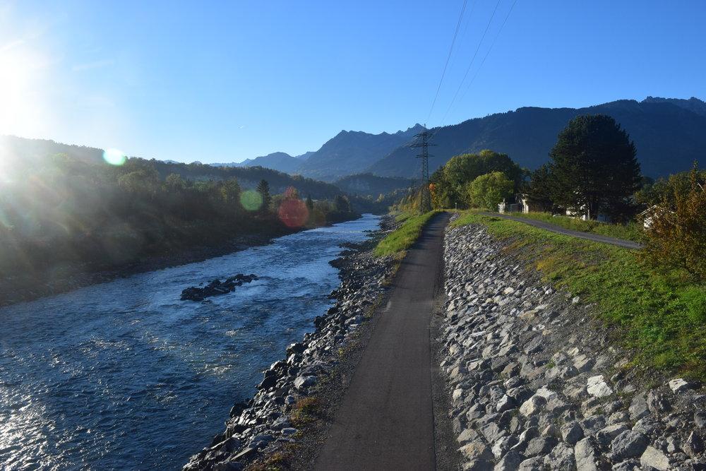 The Rhine Valley, Austria to the left, Switzerland on the right, Liechtenstein ahead - Day 4