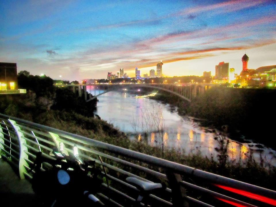 The Rainbow Bridge, Niagara Falls - the path into Canada