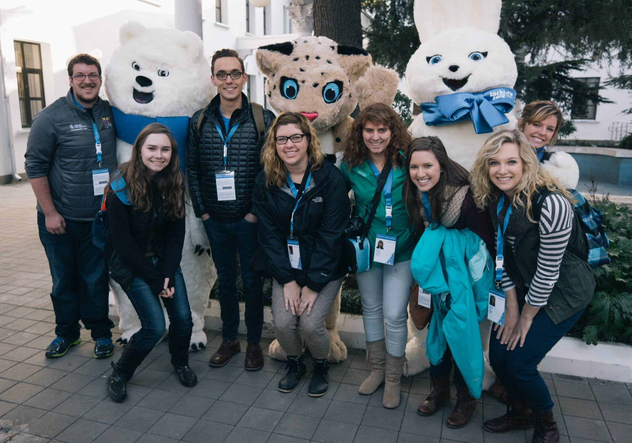 The team on our first day, posing with the official Sochi 2014 mascots.