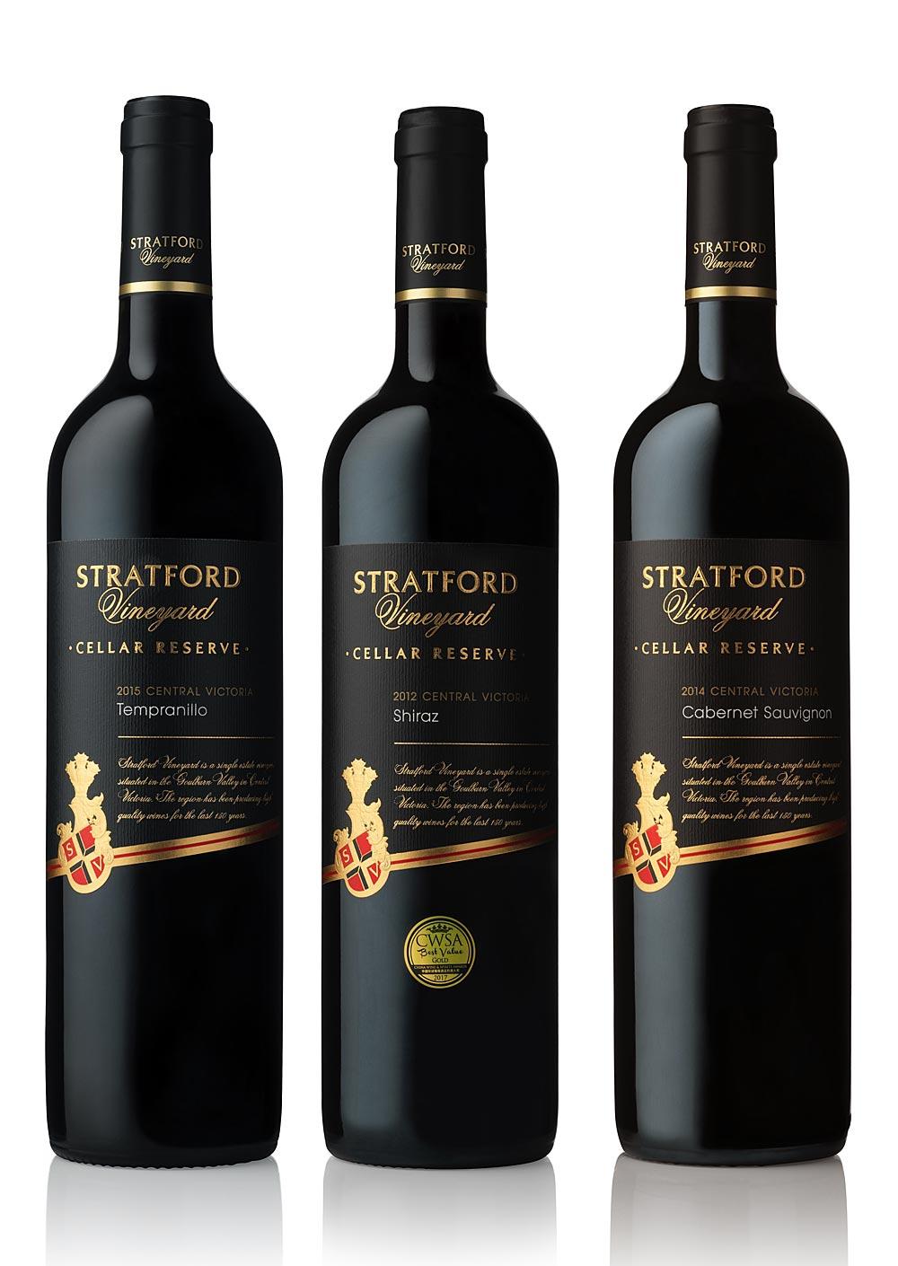 Studio Wine Bottle Photography in our Melbourne Studio for Stratford Vineyard