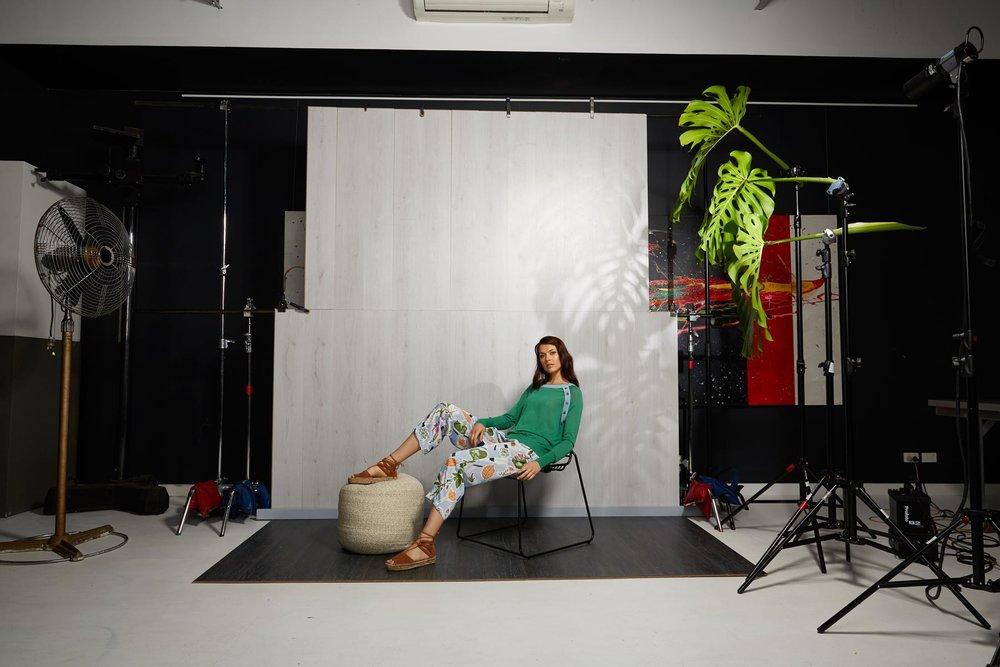 A set was built in our large studio based in West Melbourne for the photo shoot. We had decided on a set instead of a simple white background because commonly used for  fashion catalogue photography.