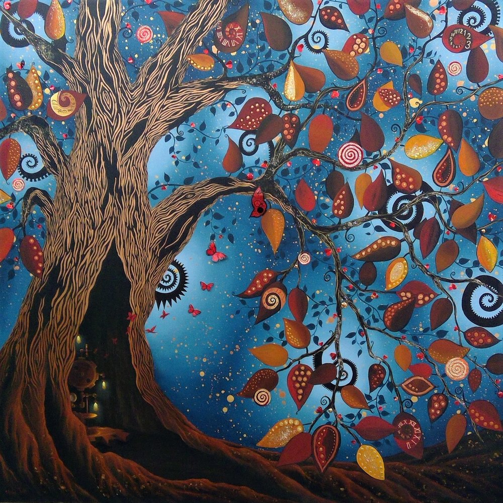 """'The Golden Tree' - Oil & mixed media on panel48""""x48""""Sold"""