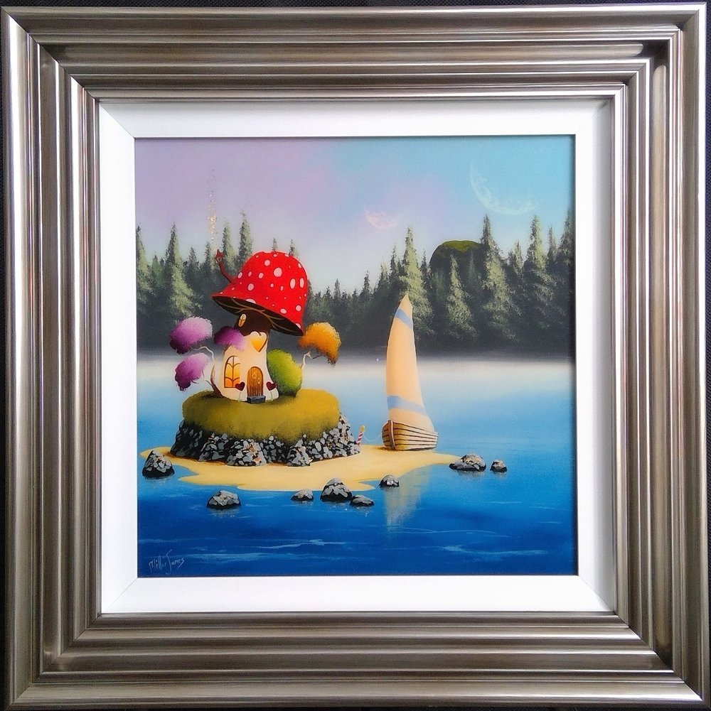 "'Island Retreat' - Framed size 24""x24""Was £360NOW £250SOLD"